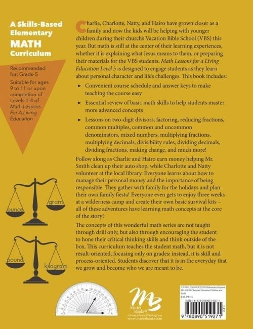 Math Lessons for a Living Education: Level 5 Book Back